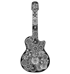 Guitar hand drawn floral patterned vector