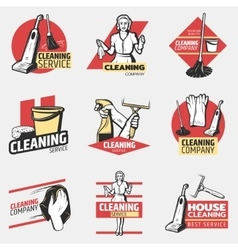 Colorful cleaning company logotypes vector