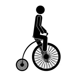 monochrome pictogram of man in penny farthing vector image