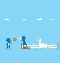 businessman trading money and golden egg vector image
