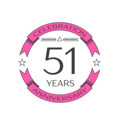Realistic fifty one years anniversary celebration vector