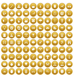100 camping and nature icons set gold vector