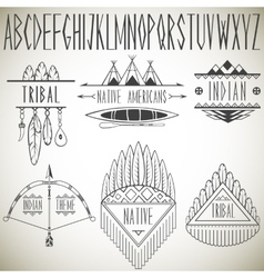 Collection of tribal design elements and alphabet vector image