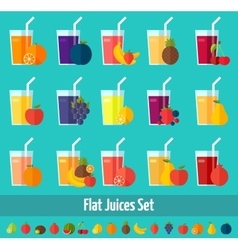 Fruits juices flat icons set vector image
