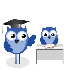 Owl teacher desk vector