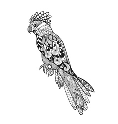 Zentangle stylized parrot vector