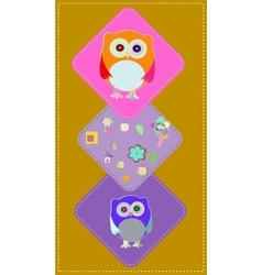 Cute owls couple with baby owl owl family vector