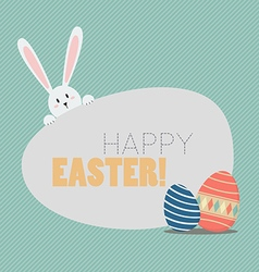 Happy easter with easter eggs and bunny vector
