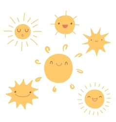 Set of cute hand-drawn sun icons vector