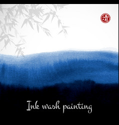 bamboo and abstract black ink wash painting vector image vector image