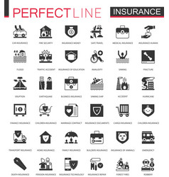 Black classic insurance icons set isolated vector