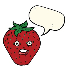 Cartoon strawberry with speech bubble vector