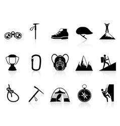 climbing mountain icons set vector image