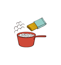 cooking pasta - boiling water in pan and spaghetti vector image