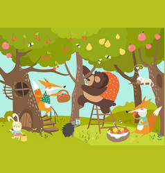 cute animals harvesting vector image vector image