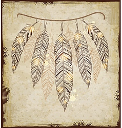 Decorative ethnic background with feathers vector image vector image