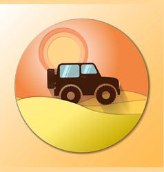 Desert dunes sunset landscape off road car vector