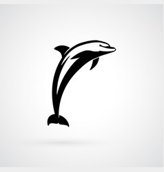 dolphin logo sign black isolated vector image vector image