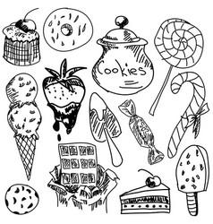 drawn sweet food vector image