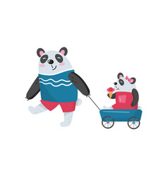 Father panda pulling his baby girl in toy wagon vector