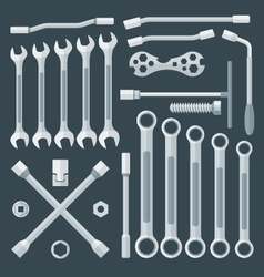 flat style various wrench set vector image