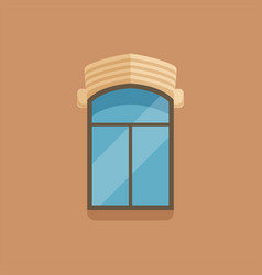 Flat window with facade cornice on brown wall vector