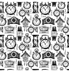 Hand drawn clocks and watches seamless pattern vector