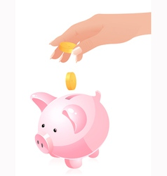 Hand throwing money in piggy bank vector image