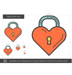 Heart lock line icon vector