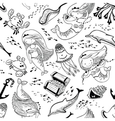 Marine seamless pattern with doodle mermaid vector