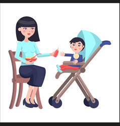 Mother feeds baby boy who sits on toddler carriage vector