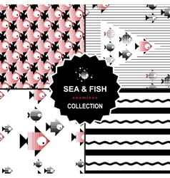 Sea and fish pattern set vector