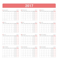 Simple Planner Calendar with grid vector image vector image