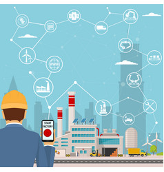 Smart factory and around it icons engineer vector