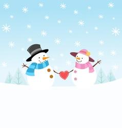 Snowman Couple vector image vector image