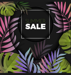 Summer sale background with exotic colorful leaves vector