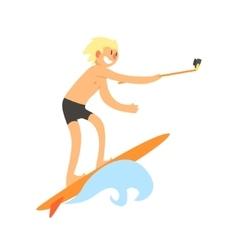 Surfer Taking Selfie vector image