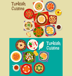 Turkish cuisine icon set for restaurant design vector