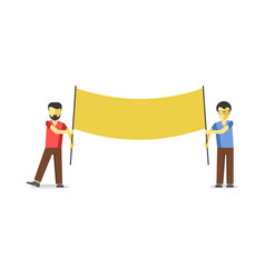 two men standing with striking empty banner vector image vector image