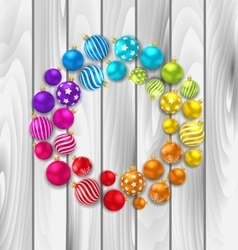 Set colorful christmas glass balls on wooden vector