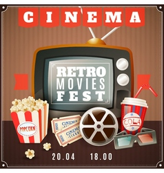 Cinema retro movies festival announcement poster vector