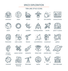 Space exploration thin line icons vector