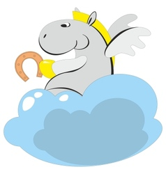 The winged horse on a cloud 006 vector