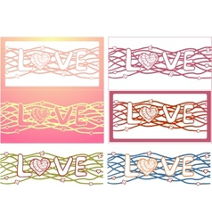 The word love in design background set of 6 cards vector