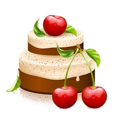 Sweet cake with ripe cherries vector