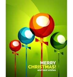 Glossy christmas balloons greeting card template vector