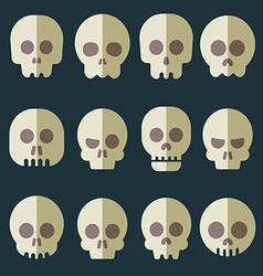 Cartoon skull icon set vector image