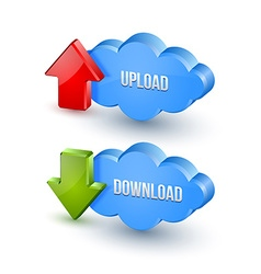3d upload and download clouds vector