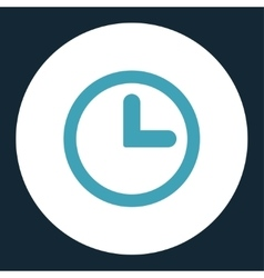 Clock flat blue and white colors round button vector