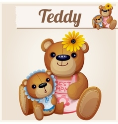 Teddy bears mom and baby cartoon vector